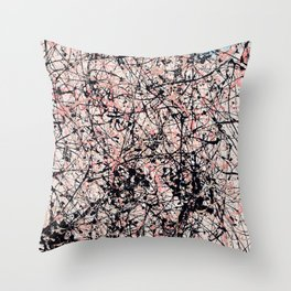 THREE BLUE ROSES - Jackson Pollock style art Throw Pillow