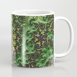 Spiraling Swirling Elegant Amazing Feather Psychedelic Fractal Art Green Purple Colorful Beautiful Coffee Mug
