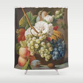 Stilleven met bloemen en fruit in een mandje (ca 1791) in high resolution by Anthony Oberman Shower Curtain