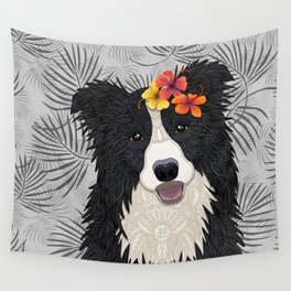 Happy Border Collie with Flowers Wall Tapestry