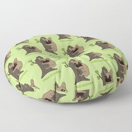 Black mask Frenchie is an environmental friendly tree hugger Floor Pillow