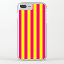 Super Bright Neon Pink and Yellow Vertical Beach Hut Stripes Clear iPhone Case