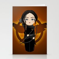 katniss Stationery Cards featuring Kokeshi Katniss by Pendientera