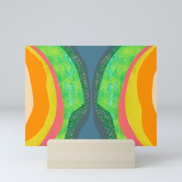 Shapes and Layers no.25 - Abstract painting Blue, Green, pink, yellow orange Mini Art Print