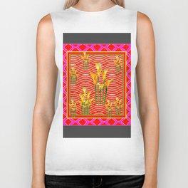 Hot Pink-Red Gold Calla Lilies Grey Art Biker Tank