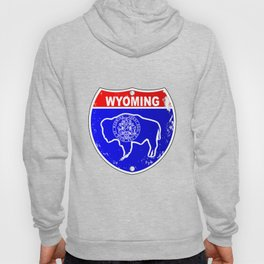 Wyoming Flag Icons As Interstate Sign Hoody