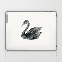 Elegant black white hand painted watercolor swan  Laptop & iPad Skin