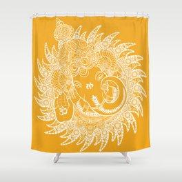 Ganesha Lineart Yellow White Shower Curtain