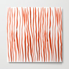 Vertical watercolor lines - orange Metal Print