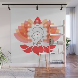 Cute Buddha on a sacred lotus Wall Mural