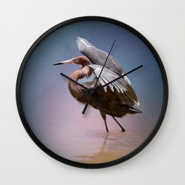Graceful Reddish Egret Wall Clock