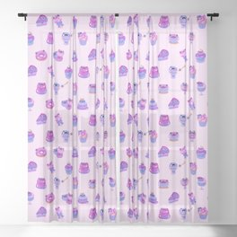 Blueberry frog Sheer Curtain