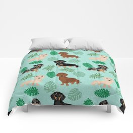 dachshund summer tropical monstera palms dog breed pure breed pets Comforters