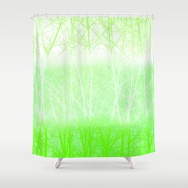 Frosted Winter Branches in Lime Green Shower Curtain