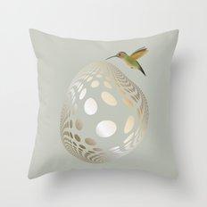 Hummingbird and Bubble Throw Pillow