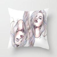 sky ferreira Throw Pillows featuring Sky Ferreira  by Asquared2Art
