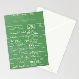 Library Card 23322 Negative Green Stationery Cards