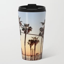 Huntington Beach Summer Sunset at the pier Metal Travel Mug