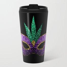 Mardi Gras Mask Purple Green Gold Sparkles Travel Mug