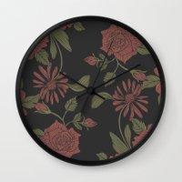 flora Wall Clocks featuring Flora by Norman Duenas