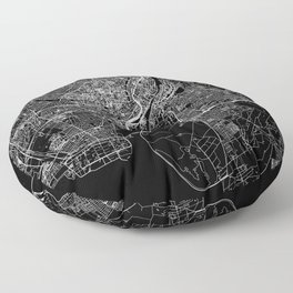 Copenhagen Black Map Floor Pillow