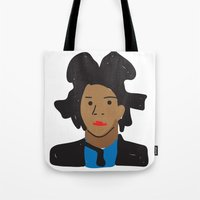 basquiat Tote Bags featuring Basquiat by John Sailor
