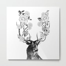 The Stag and Roses | Deer and Flowers | Vintage Stag | Vintage Deer | Antlers | Black and White | Metal Print