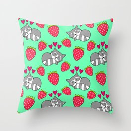 Cute funny sweet adorable sleeping baby raccoons, little pink hearts and red ripe summer strawberries cartoon light pastel green pattern design Throw Pillow