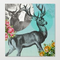 stag Canvas Prints featuring Stag by Ginger Pigg Art & Design