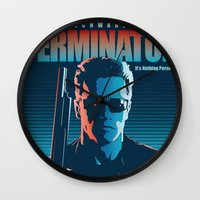 terminator Wall Clocks featuring Terminator 2 - Alternative Poster by Lorenzo Imperato