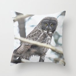 Let Us Prey - Great Grey Owl & Mouse Throw Pillow