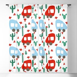 Camper Vans in Red and Blue with Green Cactus and Red Flowers Blackout Curtain