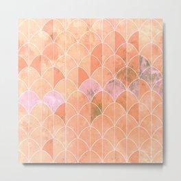 Mermaid scales. Peach and pink watercolors. Metal Print