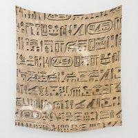 egypt Wall Tapestries featuring Egypt Hieroglyphs by Manuela Mishkova
