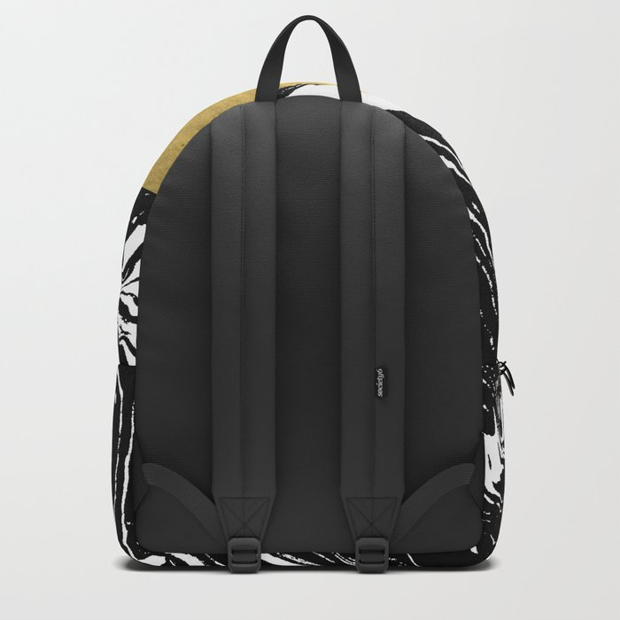 Abstract geometric triangle gold black and white marble nursery dorm college office decor Backpack