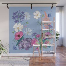 Blue Spring Floral Garland Wall Mural