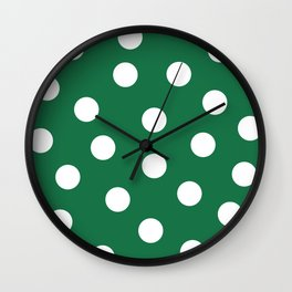 Polka Dots - Dark Spring Green and White Wall Clock