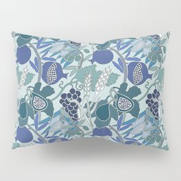 Seven Species Botanical Fruit and Grain in Blue Tones Pillow Sham
