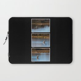 Gone Fishing Triptych Black Laptop Sleeve