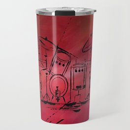 Music, Drummer, Drums, Orignal Artwork By Jodi Tomer. Rock and Roll Drums Travel Mug