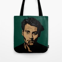 johnny depp Tote Bags featuring johnny depp by pexkung