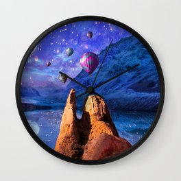 Mountain Tops Misty And Blue, A Light In Search Of Something New Wall Clock
