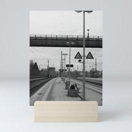 Station Rosenheim, black and white photo Mini Art Print