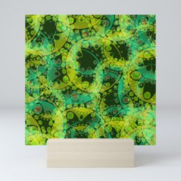 Spring pastels gently pearl and lemon circles and green ellipses with the image of abstract flowers Mini Art Print