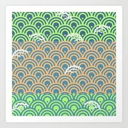Catch the Seigaiha 2 (Green) Art Print