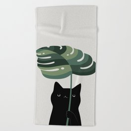 Cat and Plant 16 Beach Towel