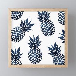 Pineapple Blue Denim Framed Mini Art Print
