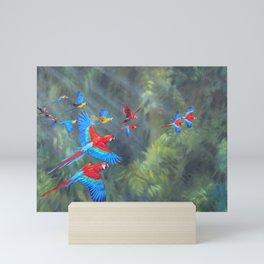 Manu Morning - Scarlet Macaws Mini Art Print