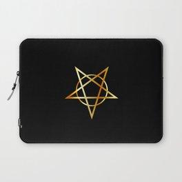 Golden inverted upside down Pentagram antichrist symbol Laptop Sleeve