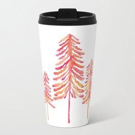 Pine Trees – Pink & Peach Ombré Metal Travel Mug